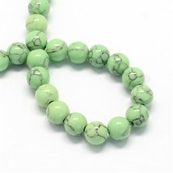 LightGreen Dyed Synthetic Turquoise Gemstone Bead Strands, Round, LightGreen, 6mm, Hole: 1mm; about 66pcs/strand, 15.7""