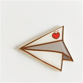 Acrylic Safety Brooches, with Iron Pin, Paper Plane