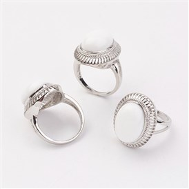 Porcelain Finger Rings, with Alloy Ring Finding, Paltinum, Oval