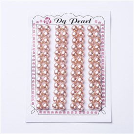 Natural Pearl Beads, Half Drilled, Round
