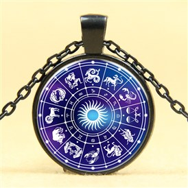 Glass Pendant Necklaces, with Alloy Chains, Flat Round with Constellation/Zodiac Sign