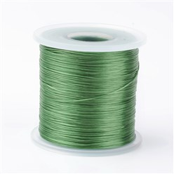 MediumSeaGreen Japanese Flat Elastic Crystal String, Elastic Beading Thread, for Stretch Bracelet Making, MediumSeaGreen, 0.5mm; about 300m/roll