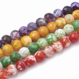 Dyed Natural Crackle Agate Beads Strands, Round