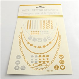 Cool Body Art Removable Mixed Shapes Fake Temporary Tattoos Metallic Paper Stickers, 15~115x1~116mm; 12pcs/bag
