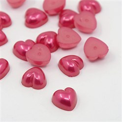 Red Acrylic Imitation Pearl Cabochons, Dyed, Heart, Red, 10.5x10.5x5mm; about 1500pcs/bag
