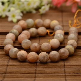 Natural Sunstone Round Bead Strands, Faceted