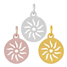304 Stainless Steel Pendants, Flat Round with Sun
