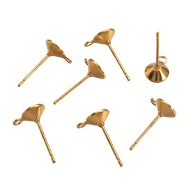 Brass Stud Earring Findings, with Loop, 14x6mm, Pin: 0.8mm, Hole: 1mm