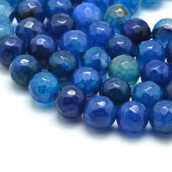 Blue Natural Agate Bead Strands, Round, Grade A, Faceted, Dyed & Heated, DeepSkyBlue, 8mm, Hole: 1mm; about 47pcs/strand, 15""