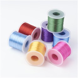 Mixed Color Japanese Flat Elastic Crystal String, Elastic Beading Thread, for Stretch Bracelet Making, Mixed Color, 0.5mm; about 300m/roll