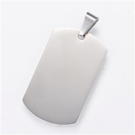 304 Stainless Steel Stamping Blank Tag Pendants, Double Side Polished, Rectangle
