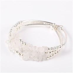 Quartz Crystal Gemstone Chip Bead Cuff Bracelets, with Brass Tube Beads and Iron Round Beads, Silver, Crystal, 50x55mm