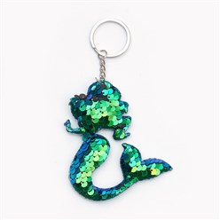 Green Key Chains, with Plastic Paillette Beads, Iron Key Ring and Chain, Mermaid, Platinum, Green, 145mm; Pendant: 90x75x11mm