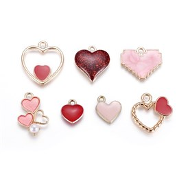 Alloy Enamel Pendants, Heart, Valentine's Day, Golden