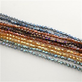 Electroplate Glass Bead Strands, Rainbow Plated, Faceted Bicone