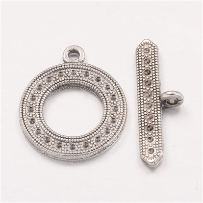 Tibetan Style Toggle Clasps, Lead Free and Cadmium Free, Toggle: 25x30mm, Tbars: 3.5x30mm, Hole: 3mm-1