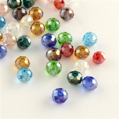 Electroplate Faceted Abacus AB Color Plated Transparent Glass Beads-1
