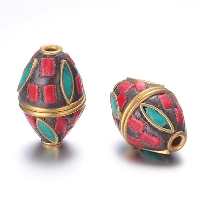 Handmade Indonesia Beads, with Alloy Findings, Bicone-1