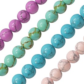 Synthetic Turquoise Beads Strands, Dyed, Round, 8mm, Hole: 1mm