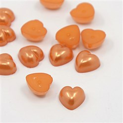 OrangeRed Acrylic Imitation Pearl Cabochons, Dyed, Heart, OrangeRed, 10.5x10.5x5mm; about 1500pcs/bag