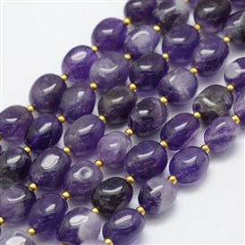 Natural Amethyst Beads Strands, Egg Stone