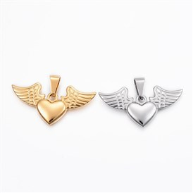 304 Stainless Steel Pendants,  Heart with Wing