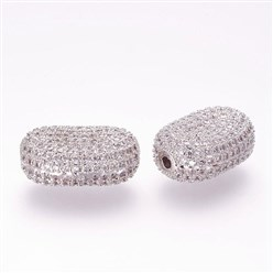 Platinum Brass Micro Pave Cubic Zirconia Beads, Oval, Platinum, 19x13.5x8mm, Hole: 1.5mm
