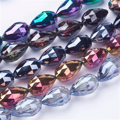 Electroplate Glass Beads Strands, Faceted, Drop-1