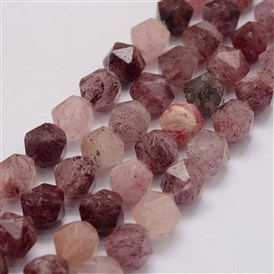 Natural Strawberry Quartz Bead Strands, Star Cut Round Beads, Faceted