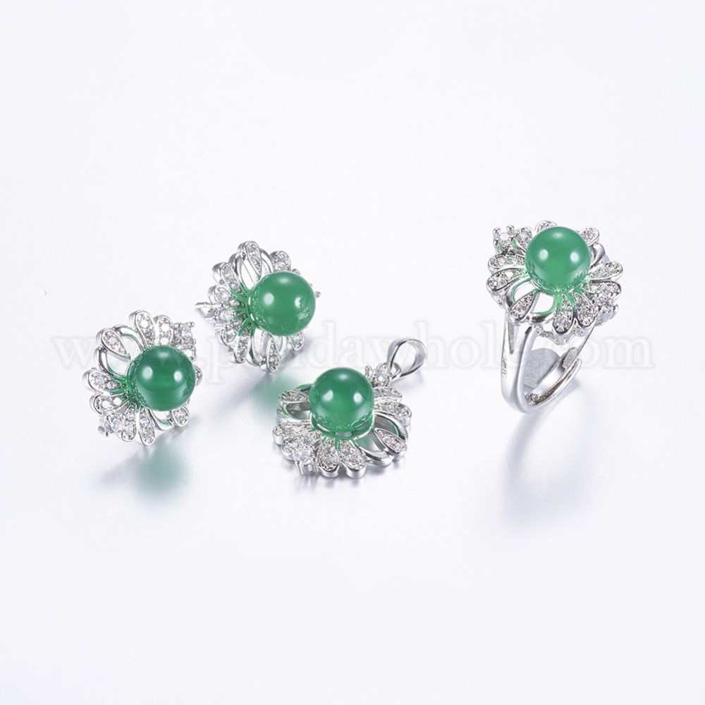 2beb6ae803 Brass Rhinestone Jewelry Sets, Dangle Stud Earrings, Pendants and Finger  Rings, with Dyed Natural Jade, Flower