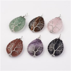 Naturral/Synthetic Gemstone Big Pendants, Teardrop with Tree, Brass Wire Wrapped Pendants, Platinum