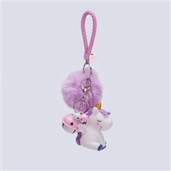 Lilac Pom Pom Ball Key Chains, with PU Leather Cord, Alloy Lobster Claw Clasp, Resin and Iron Key Ring and Chain, Unicorn and Bell, Lilac, 240mm