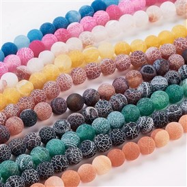 Natural Crackle Agate Beads Strands, Dyed, Round, Grade A