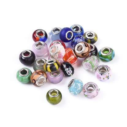 Mixed Styles Handmade Lampwork Glass European Beads, with Brass Double Cores, Large Hole Rondelle Beads, 14~16x10mm, Hole: 5mm