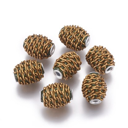 Handmade Indonesia Beads, with Alloy and Aluminum Findings, Barrel
