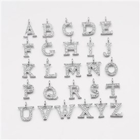 Brass Micro Pave Cubic Zirconia Pendants, with Letter Initial Letter A~Z, 9~10x4~10x1.5~2mm, Hole: 1.5mm