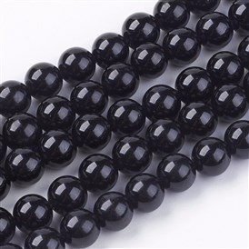 Natural Tourmaline Bead Strands, Round, Black