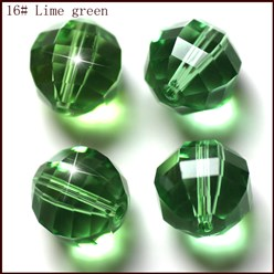 LimeGreen Imitation Austrian Crystal Beads, Grade AAA, Faceted, Round, LimeGreen, 10mm, Hole: 0.9~1mm