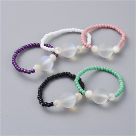 Glass Seed Beads Stretch Rings, with Frosted Synthetic Moonstone Beads and Sea Shell Beads, Round