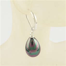 Dyed Shell Drop Earrings, with Alloy Finding, 33mm, pin: 0.8mm