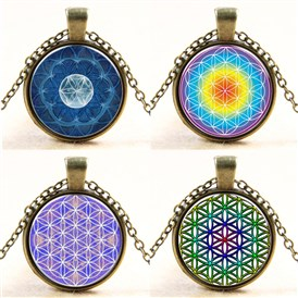 Kaleidoscope Pattern Flat Round Glass Pendant Necklaces, with Alloy Chains, 18""