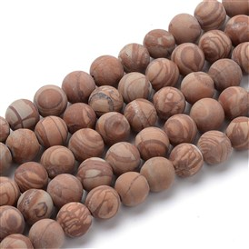 Natural Picture Jasper Round Bead Strands, Frosted Style