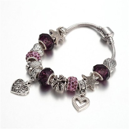 Alloy Rhinestone Bead European Bracelets, with Glass Beads and Brass Chain, 190mm