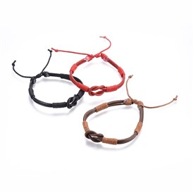 Cowhide Leather Cords Bracelets, with Cotton Cord