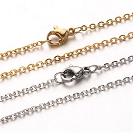 "304 Stainless Steel Cable Chain Necklaces, with Lobster Claw Clasps, 19.7""(50cm)"