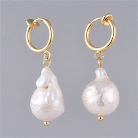 Natural Baroque Pearl Keshi Pearl Clip-on Hoop Earrings, with Brass Hoop Earring Findings, 304 Stainless Steel Ball Head Pins and Cardboard Packing Box