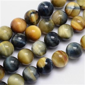Natural Tiger Eye Round Bead Pendants, Dyed & Heated