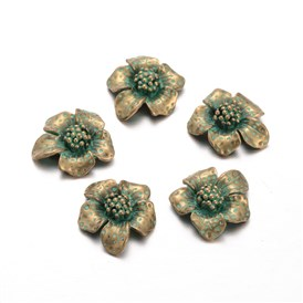 Flower Alloy Cabochons, Nickel Free, 20x19x6mm