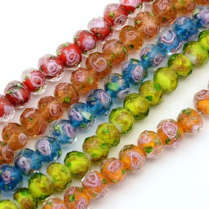 Handmade Gold Sand Lampwork Rondelle Beads Strands, Faceted, 10x7mm, Hole: 2mm; about 50pcs/strand, 13.77""