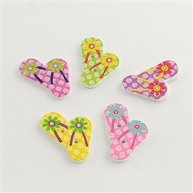 2-Hole Printed Wooden Buttons, Shoes, 28x25x2mm, Hole: 2mm